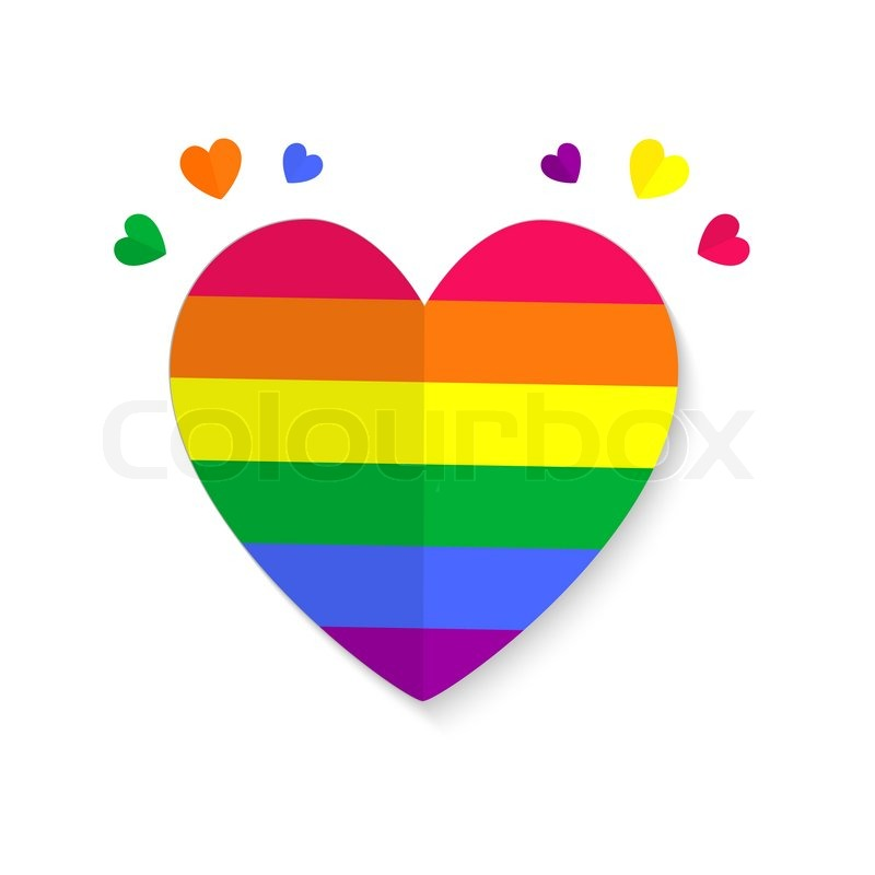 Vector Illustration Of Paper Hearts Lgbt Color Isolated On