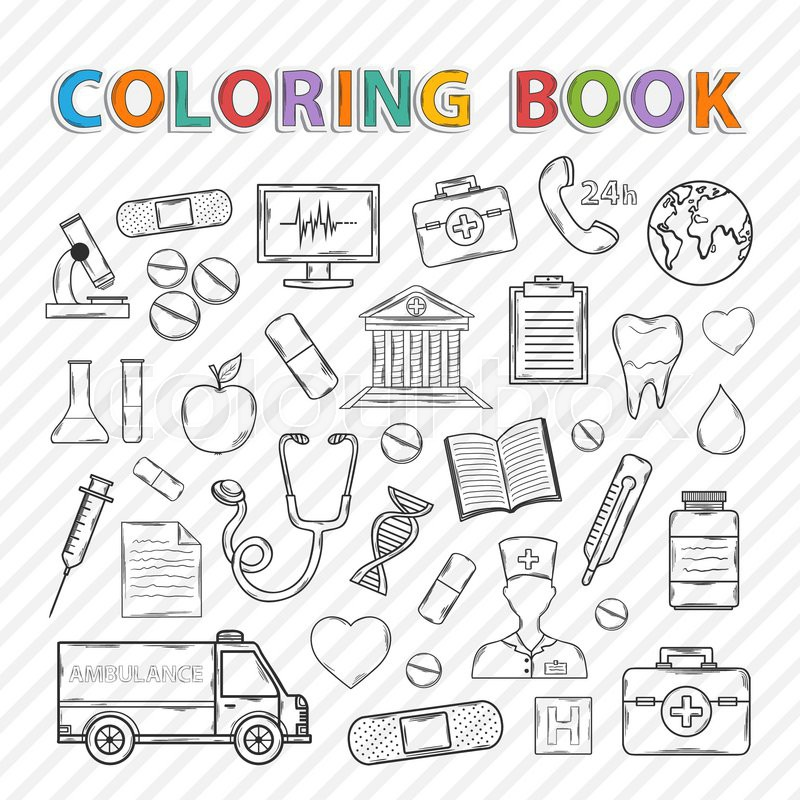 Vector coloring book.Hand drawn icons set .With ambulance