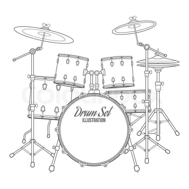 Vector dark outline drum set on white background bass tom