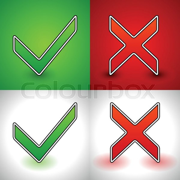 Red and Green Check Mark X
