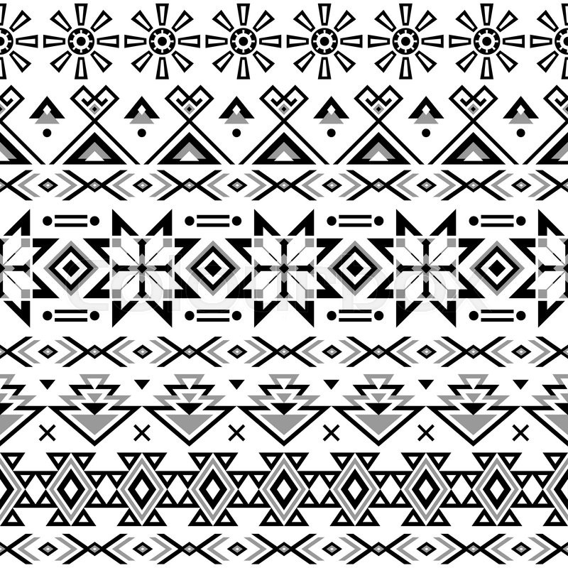 Ethnic seamless pattern. Aztec black-white background