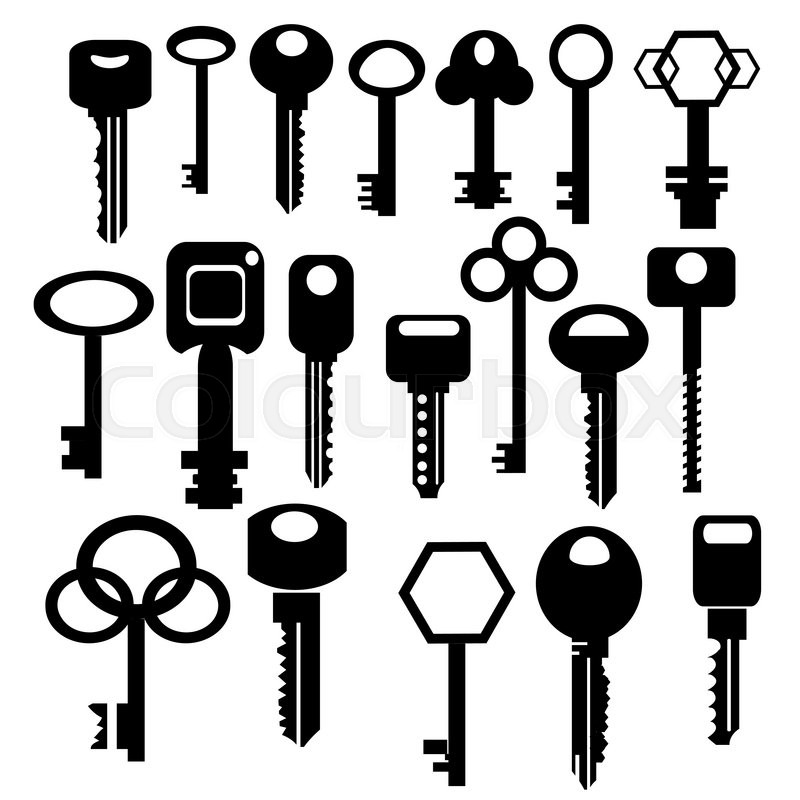 Illustration with silhouettes of keys isolated on white