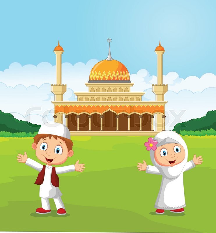 Vector illustration of Happy cartoon Muslim kids waving