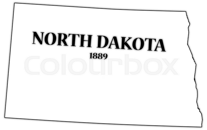 A North Dakota state outline with the date of statehood