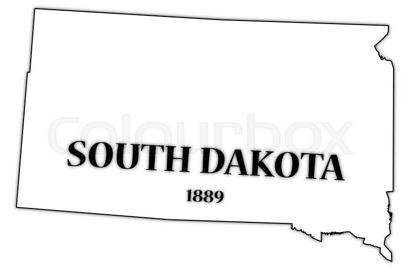 A South Dakota state outline with the date of statehood