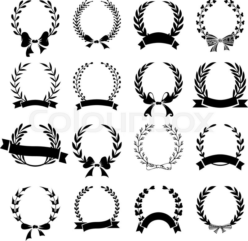 Hand-drawn wreaths with ribbons and bows isolated on white