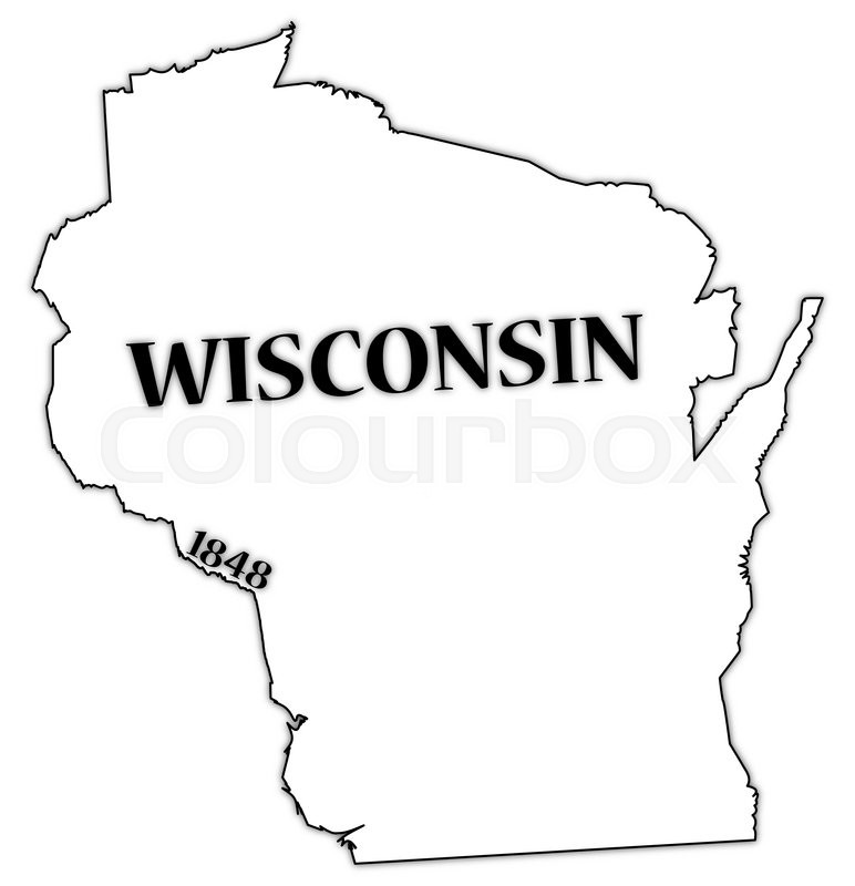 A Wisconsin state outline with the date of statehood