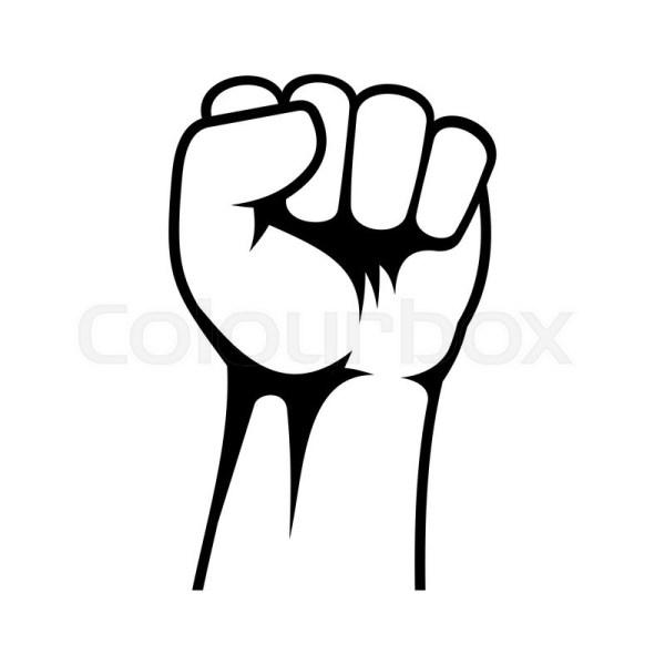 raised fist icon white background