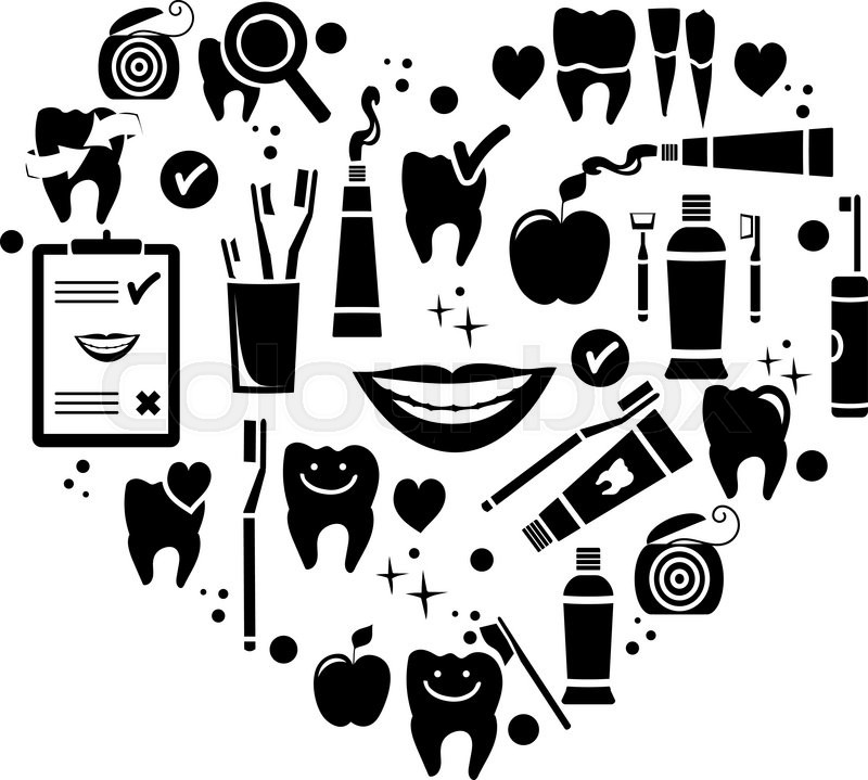 Dental care symbols in the shape of heart. Vector