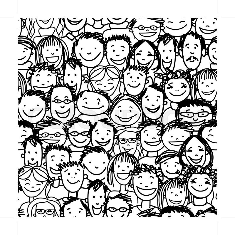 Seamless pattern with people crowd for your design, vector