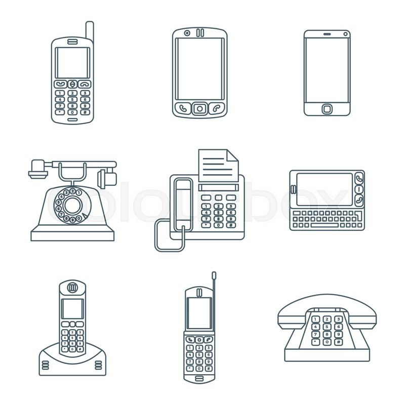 Vector grey color outline various telephones gadgets