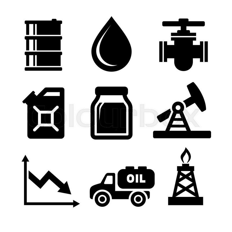Oil Icons Set. Vector Illustration on White Background
