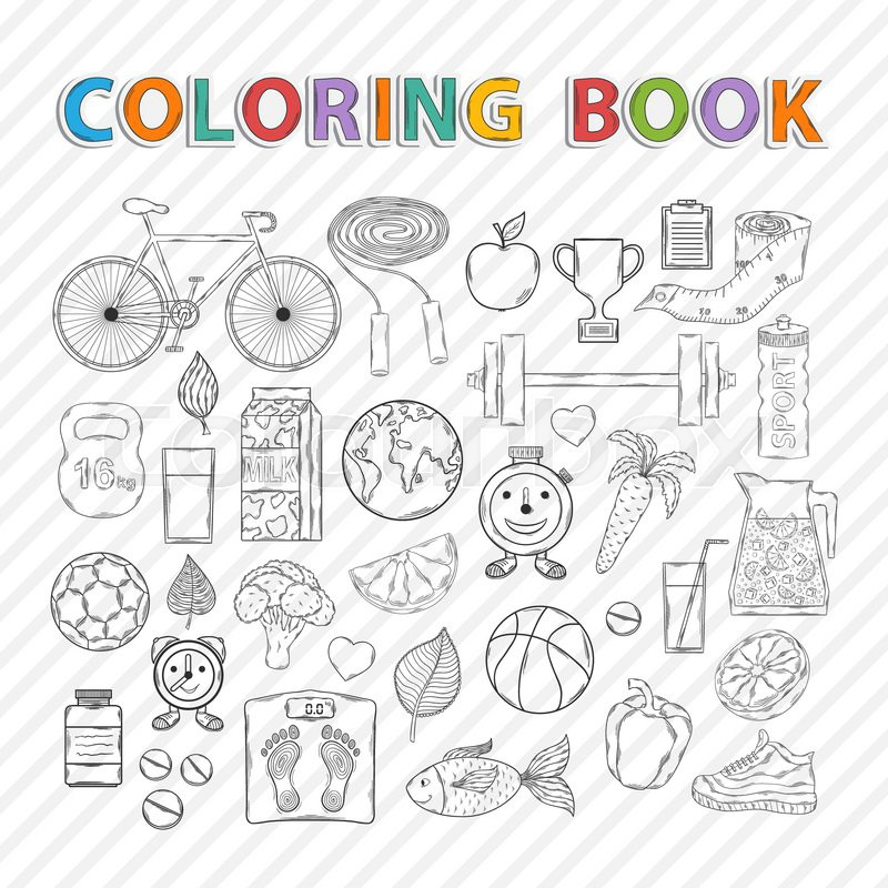 Vector coloring book.Hand drawn Icon set with various