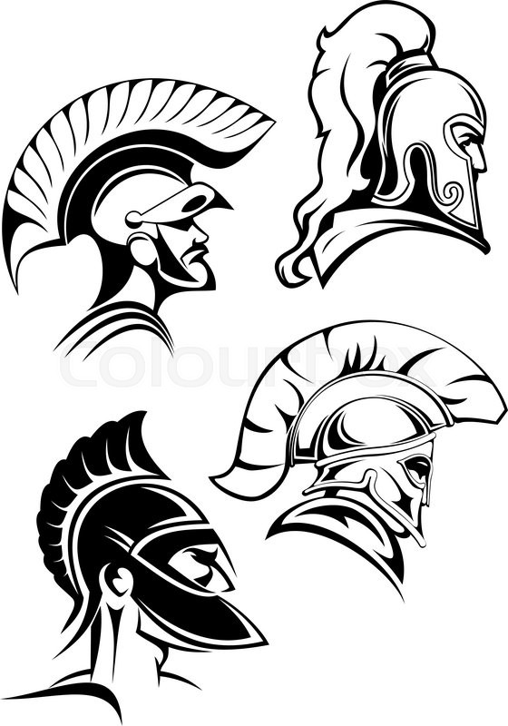 Heads of spartan warriors or gladiators wearing in