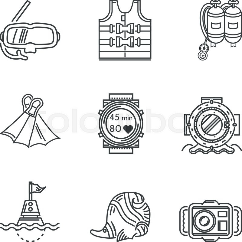 Set of black contour vector icons for diving equipment and