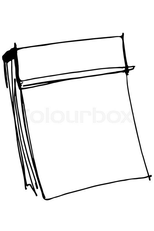 Black and white vector sketch paper tear-off calendar
