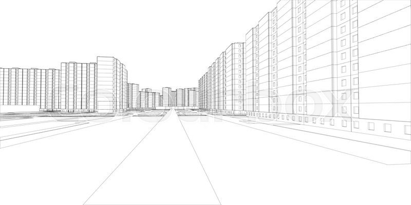 Wire-frame buildings and street. Vector illustration, 3d
