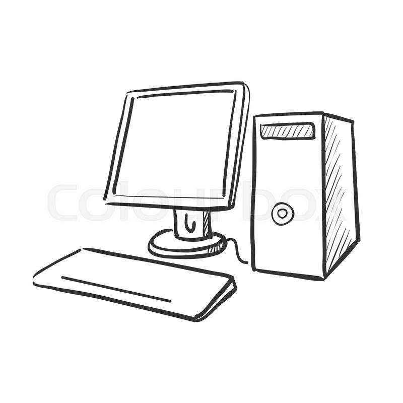 Hand draw doodle computer, excellent vector illustration