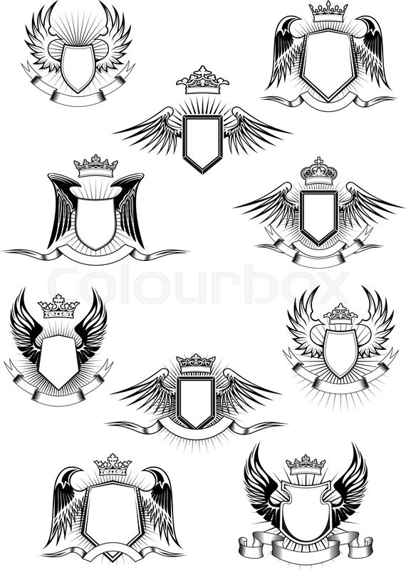 Heraldic coat of arms templates with medieval winged