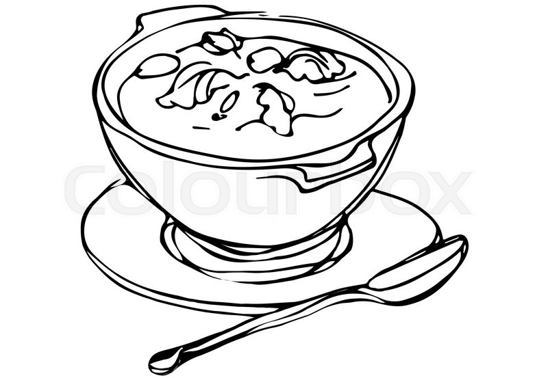 Vector Sketch Of A Bowl Of Soup With