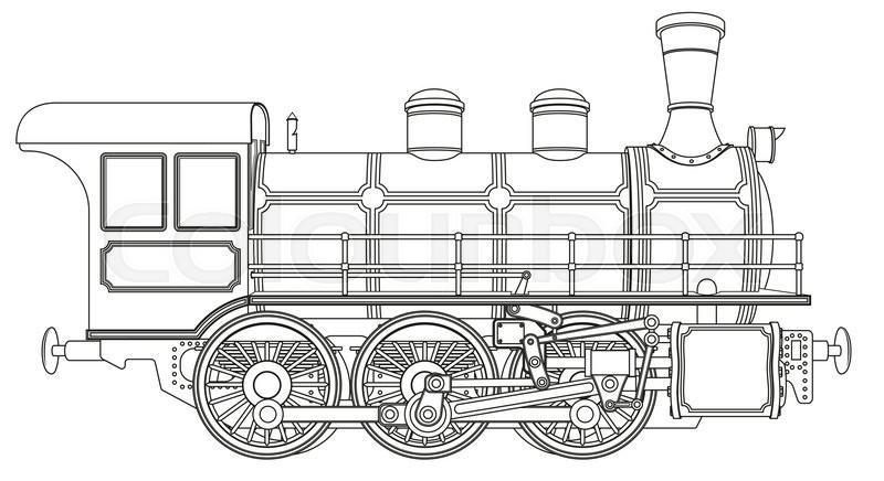 Detailed vector illustration of a steam locomotive