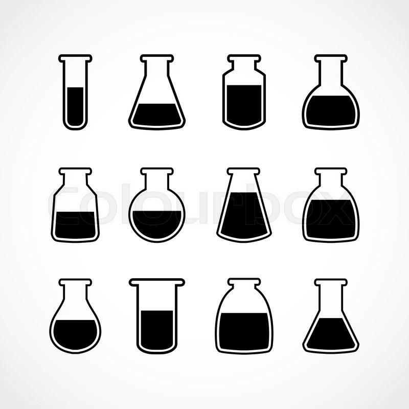 Vector black laboratory flask set.Laboratory glass.Vector