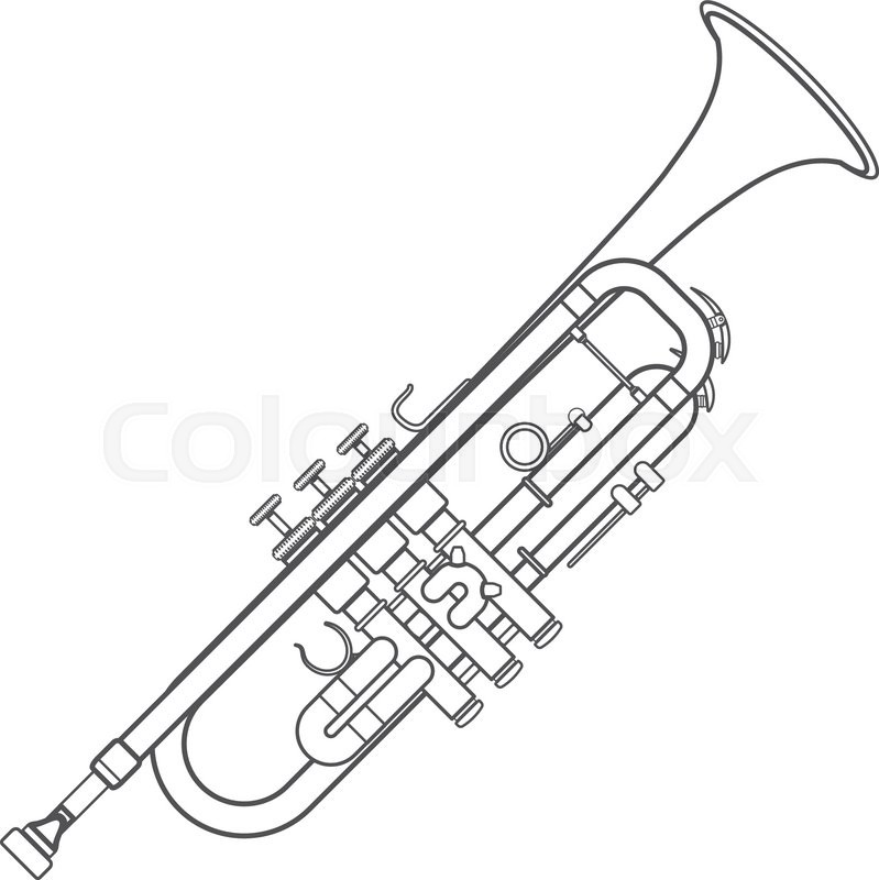 Vector grey color outline trumpet technical illustration