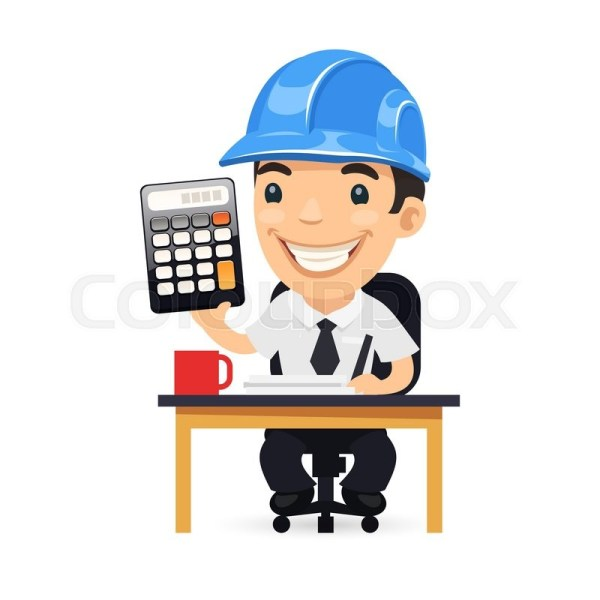 Engineer Cartoon Character With Calculator. Isolated