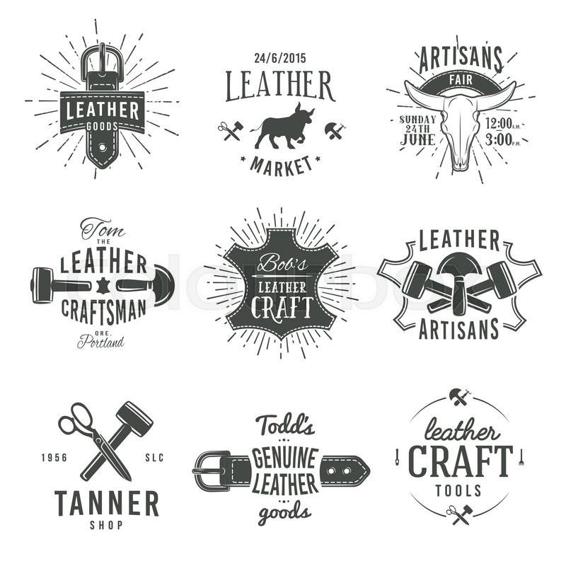 Second set of grey vector vintage craftsman logo designs