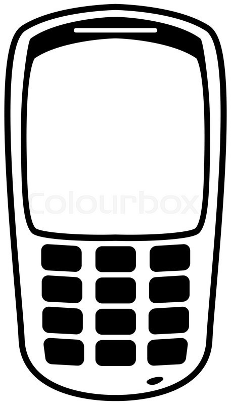 A mobile phone silhouette outline isolated on a white