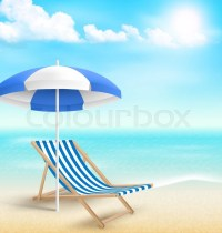 Beach with sun beach umbrella beach chair and clouds