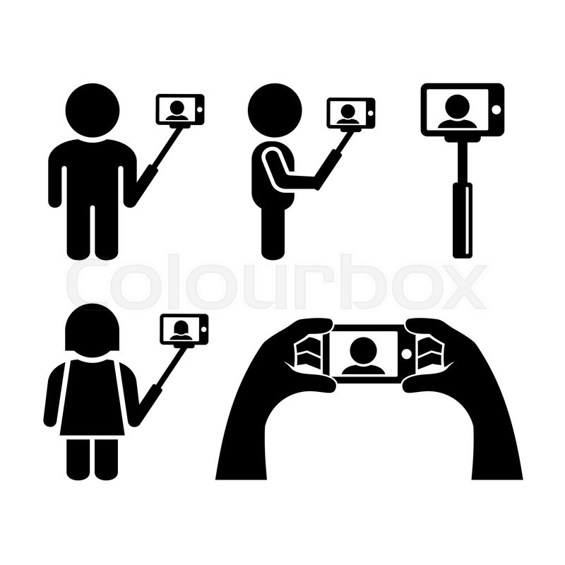 Selfie With Mobile Phone Icons Set. Vector illustration
