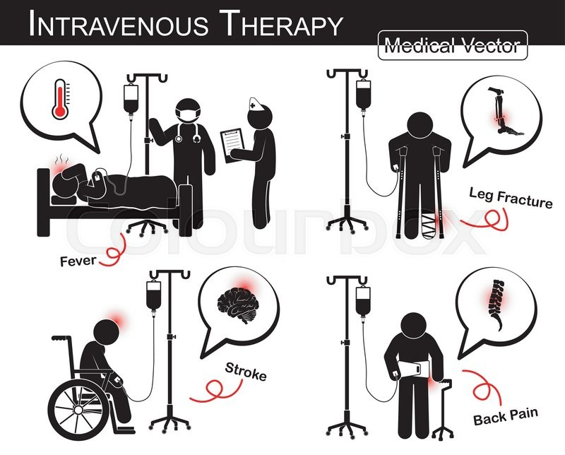 Set of vector stick man : patient with multiple disease