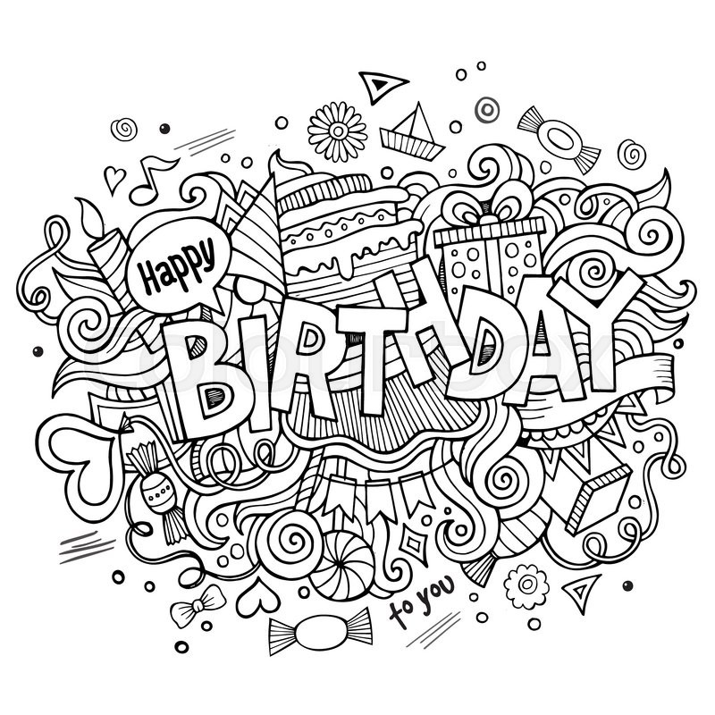 Birthday Hand Lettering And Doodles Stock Vector