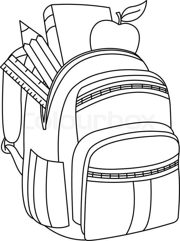 Outlined school backpack. Vector illustration coloring
