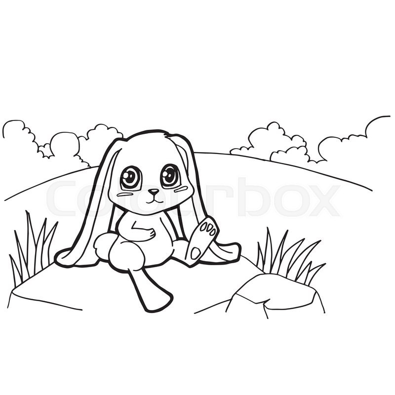 Image of bunny cartoon coloring pages isolated on white