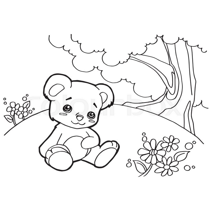 Image of bear cartoon coloring pages isolated on white
