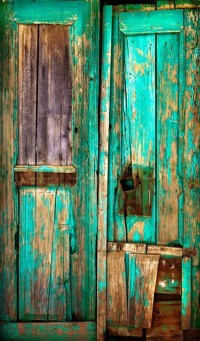 Old wooden door. Old painted wooden boards. Old paint ...