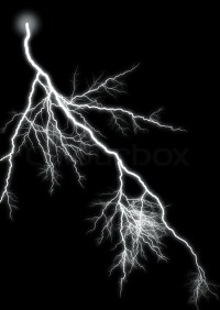Lightning strike. Isolated black background. Created ...
