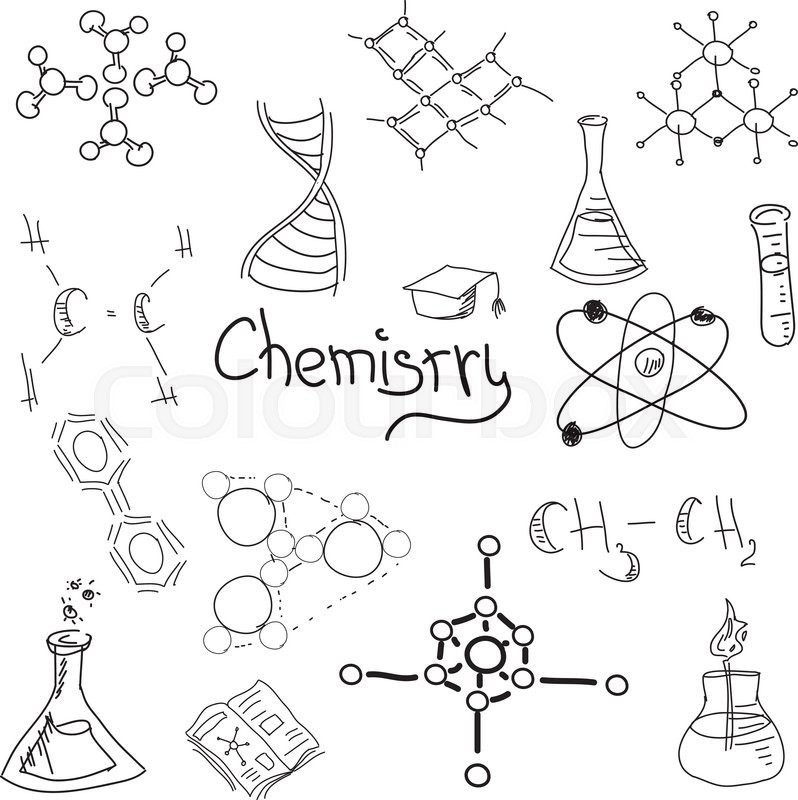Drawn picture with chemistry symbols on isolated white