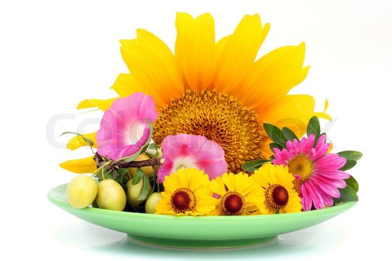 Grne Platte mit August verschiedene BlumenCocktail