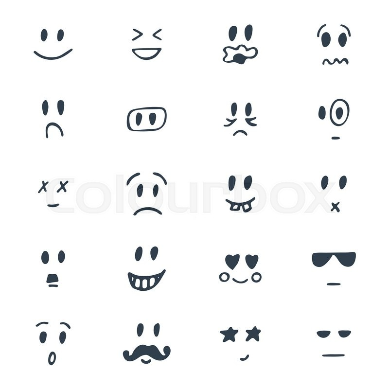 Set of hand drawn smiley faces. Sketched facial