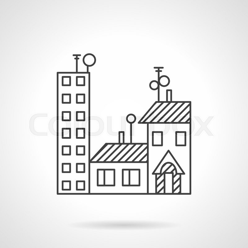 Flat line style vector icon for apartments for sale or