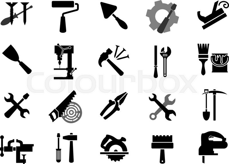 Black icons of of screwdrivers, wrench, paint roller and
