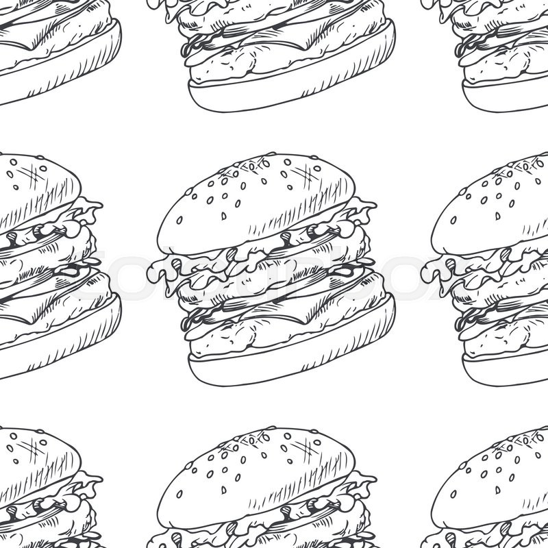 Seamless pattern with sketched burger, cheeseburger or