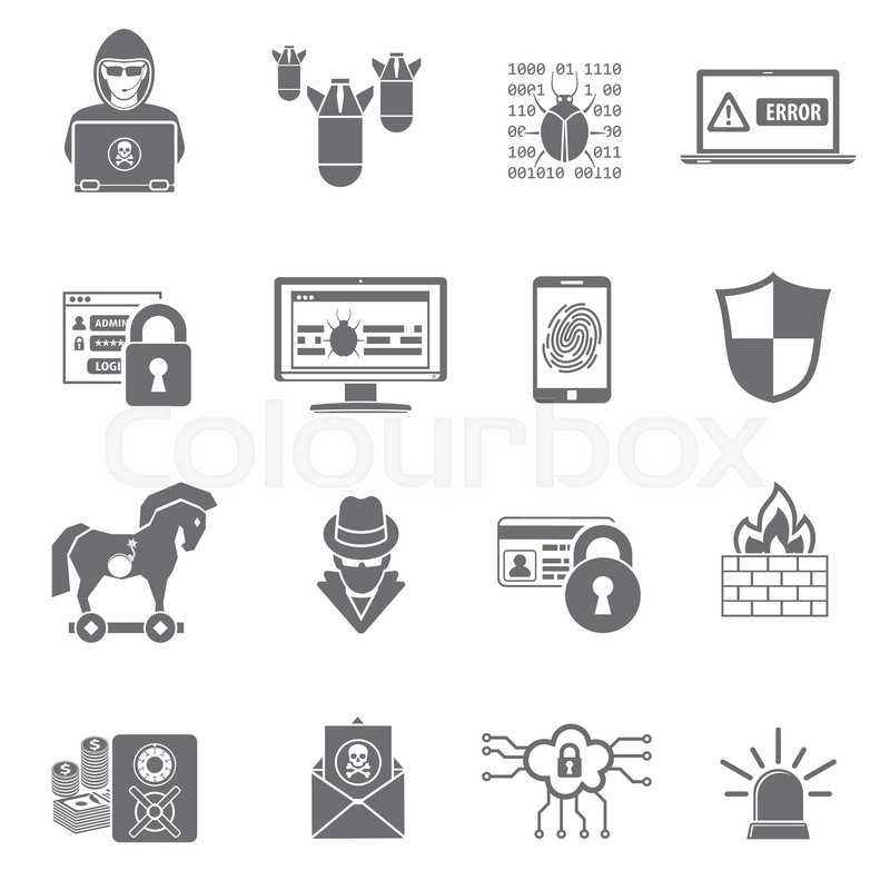 Internet Security Icon Set for Flyer, Poster, Web Site