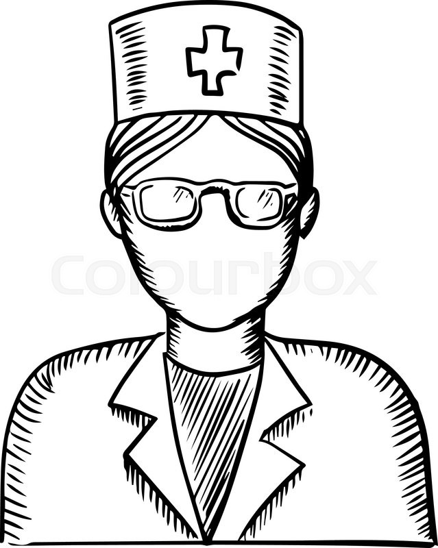 Black and white sketch of a female doctor or nurse wearing