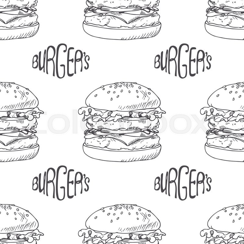 Seamless pattern with hand drawn burger, cheeseburger or