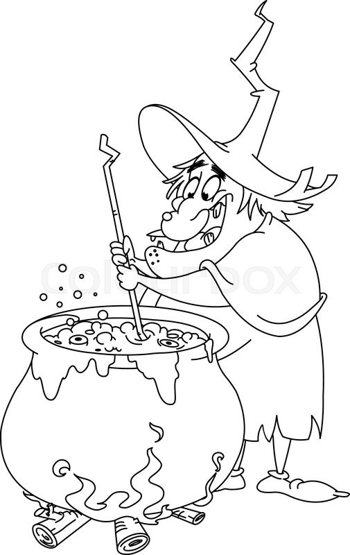 Outlined witch preparing a potion. Vector illustration