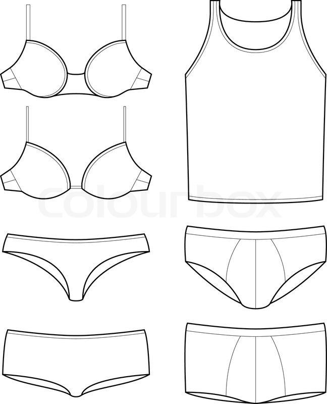 Set of underwear templates of mens and womens underware
